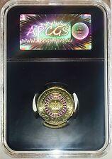 APCGS GRADED MS-61 2013 $2 CORONATION COIN PURPLE STRIPE UNC