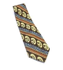 Vintage Oleg Cassini Tie Abstract Brown Blue Tapestry Wide Necktie T1