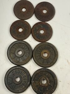 "( 4 X 5 Lb )( 4 x 3 Lb ) 1"" Hole Cast Iron Weight Plates Rusted ( 32 Total Lbs )"
