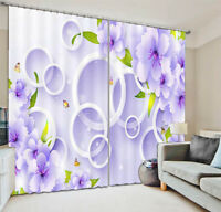 White Purple Flowers 3D Curtain Blockout Photo Printing Curtains Drape Fabric