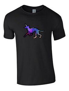 Greyhound / Unicorn Tshirt Black T-shirt, Unisex Dog Crew Neck Tee Shirt Gift