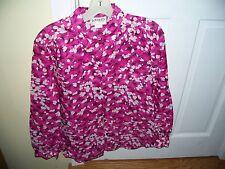 Vintage LeFolio Petite Size 14  Button Down Blouse Pink Pattern