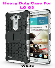 White Strong Handyman TPU Hard Case Cover Stand for LG G3, Heavy Duty & Tough