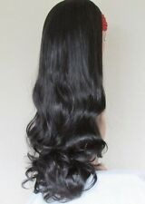 Natural Off Black Extra Long Curly Natural Look 3/4 Half Wig Hairpiece 81304-2#