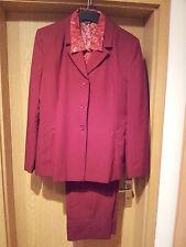 Damen Hosenanzug MISS H 3-teilig mit Bluse Gr. 44, Bordeau-rot, Business