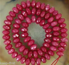 """new AAA 5x8mm Natural Faceted Brazil Ruby Abacus Gemstone Loose Beads 15"""" DIY"""