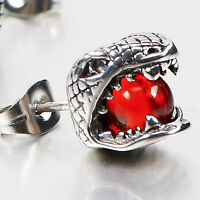 silver earring stainless steel red crystal SINGLE snake Cobra stud
