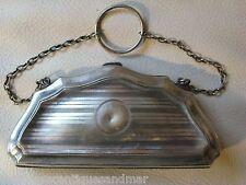Antique Victorian Art Nouveau Pinstripe Silver P Leather Card Case Purse BPDC SM