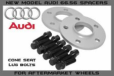 2 Pc Audi 5x112 | 12mm Thick | 66.56 Hub Centric Wheel Spacers Cone 14x1.5 Bolts