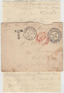 "BOER WAR 1900 stampless cover *RONDEBOSCH-ABERDEEN* via LONDON with ""T"" tax mark"