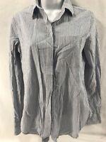 $285 VINCE Mixed Stripe Long Sleeve Cotton Shirt Blouse Size 0 XS Blue White