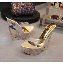 """Sexy clear perspex killer 6"""" high heel wedge mule platform sandals"""