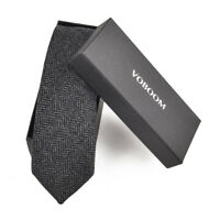 Men's Wool Ties Herringbone Tweed Classic Business Wedding Formal Wool Ties B1