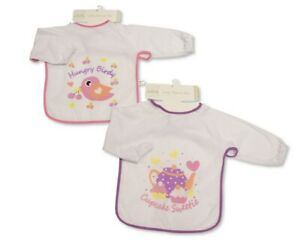 Large Long Sleeved Baby Bibs Girls with PEVA back - Single or 2-Pack - 751