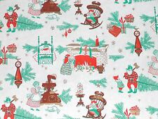 Vtg Christmas Wrapping Paper Gift Wrap 1950 Tree Fireplace Stockings Nos