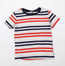 Zara Womens Size M Striped Multi-Coloured T-Shirt (Regular)