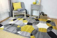 Element Cocktail Cosmo Grey Yellow Ochre Geometric Budget Rug in various sizes