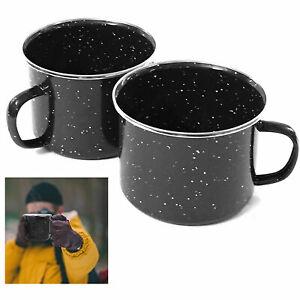 2 Travel Camping Mug Black Enamel Metal Cup Drinking Coffee Bear Tea Hiking 16oz