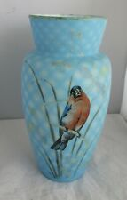 Beautiful Victorian Diamond Quilted Satin Art Glass Vase With Beautiful Bird