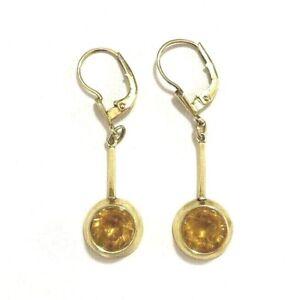 Ohrhänger 585er Gold + Citrin orange rund Ohrringe 14 Karat Gelbgold 4,1 cm