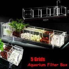 5 Grids Aquarium Acrylic Fish Tank External Hang On Filter Box Without Pump