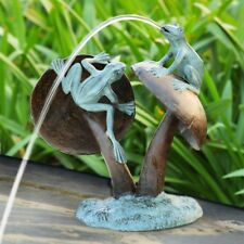 "SPI Home Frog Duo On Mushroom Garden Water Sculpture Fountain Metal Statue 16""H"