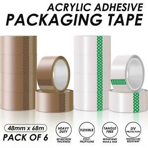 CLEAR BROWN PARCEL PACKING SEALING TAPE ROLL SELLOTAPE 2 4 6 12 ROLLS 48MM X 66M