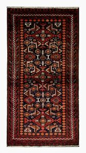 Red Wool Rug, Traditional Tribal Area Rug Vintage Handwoven Carpet - 93x184cm