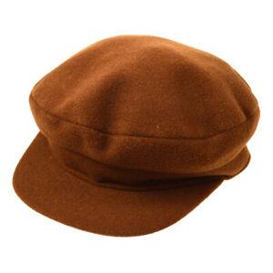 HERMES Logos Casket Hat Cap Cashmere Brown #58 Authentic JT06197j