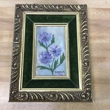 Marbur P-M Signed Acrylic on Board Flowers Gold Antiqued Frame 9x7 Inch Vintage