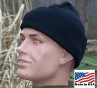 Hat Knit Black Military Wool 100% USA Made Army USMC Police Cap w P38 Can Opener