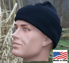 Military Hat 100% Wool Black USA Made Army USMC Police Knit Cap w P38 Can Opener