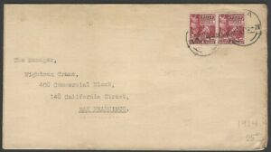 Samoa 1921-43 1d lake pair on 1930 cover to USA  SG 154