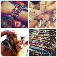 10pcs Vintage Friendship Bracelet Handmade Woven Rope Boho Embroidery Jewelry