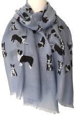Border Collie Scarf Blue Border Collies Dog Wrap Black White Sheep Dogs Shawl