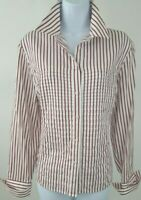 Jones New York Signature White and Red Stripe Shirt Size L  100% Cotton