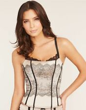CHANTELLE Paris corset basque black lace jacquard bra top gothic burlesque S NWT