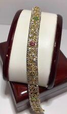 "14k Yellow Gold Sterling Silver Ruby Emerald Sapphire Multi Gemstone Bracelet 7"""