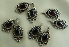 Sterling Silver Garnet Earring Findings Natural Rich Gemstones 8-total, 4 pair