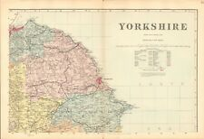 1890 Ca ANTIQUE MAP - YORKSHIRE, COMPLETE COUNTY, 4 MAPS