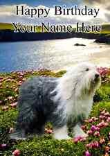 Old English Sheepdog DOG  Happy Birthday PID100 A5 Personalised Greeting Card