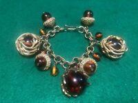 Vintage Chunky Amber Jelly Belly Acorn Twig Ball Charm Heavy Bracelet