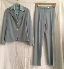 Vintage Tombolini Women's Lt Blue Wool Blend 3 Piece Suit Jacket Top Pants 42