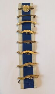 DAR Daughters of the American Revolution Ribbon, 8 Pins and Medals JE Caldwell