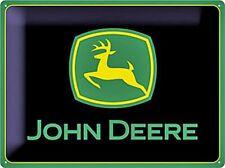 John Deere logo (black bgrd) large embossed steel sign 400mm x 300mm (na)