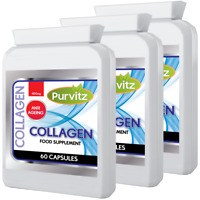 Collagen 180 Capsules Type 1 Marine 400mg Skin Anti Ageing Joints Purvitz