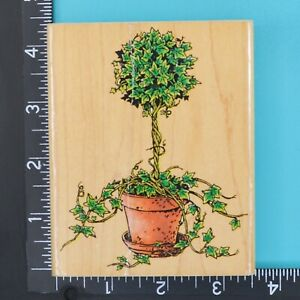 Ivy Topiary 479K Plant Flower Pot Penny Black Wood Mounted Rubber Stamp 1996