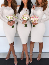 Women's Lace Long Sleeve Bodycon Dress Evening Party Cocktail Bridesmaid Dresses