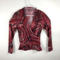 GW Women's Blouse Red Black Abstract Swirls Long Sleeve Surplice Stretch Knit L