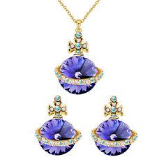 Gold Dark Purple Jewellery Set UFO Orb Cross Stud Earrings and Necklace Set S691